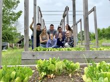 Group members next to a patch of spinach